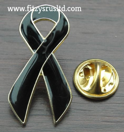 BLACK RIBBON LAPEL PIN BADGE AWARENESS BROOCH
